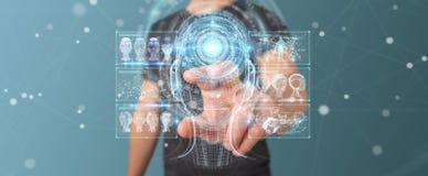 Бизнесмен используя цифровой интерфейс 3D r искусственного интеллекта Стоковые Фото