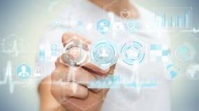 Бизнесмен используя цифровой медицинский интерфейс с ручкой 3D представляет Стоковые Изображения