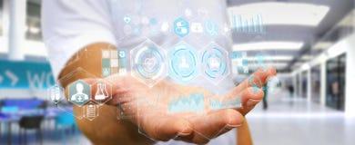 Бизнесмен используя цифровой медицинский перевод интерфейса 3D Стоковое Изображение