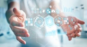 Бизнесмен используя цифровой медицинский перевод интерфейса 3D Стоковое фото RF