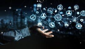 Бизнесмен используя цифровой медицинский перевод интерфейса 3D Стоковая Фотография