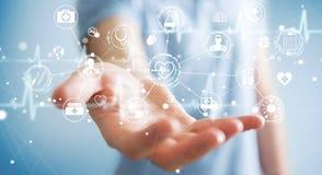 Бизнесмен используя цифровой медицинский перевод интерфейса 3D Стоковые Изображения RF