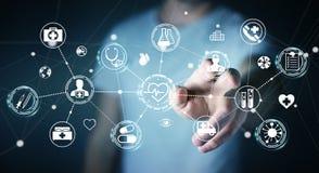 Бизнесмен используя цифровой медицинский перевод интерфейса 3D Стоковые Фото