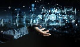 Бизнесмен используя цифровой медицинский перевод интерфейса 3D Стоковые Изображения
