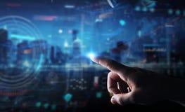 Бизнесмен используя цифровой технологический интерфейс с переводом данных 3D стоковое изображение