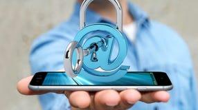 Бизнесмен используя 3D представил цифровой padlock для того чтобы обеспечить его inte Стоковые Фото