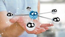 Бизнесмен используя летать перевод сети 3D сфер 3D Стоковые Изображения RF