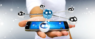 Бизнесмен используя летать перевод сети 3D сфер 3D Стоковые Изображения