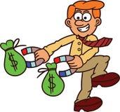 Бизнесмен используя магнит для того чтобы получить мешки шаржа денег Стоковые Фотографии RF