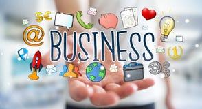 Бизнесмен используя нарисованное вручную представление дела Стоковое фото RF
