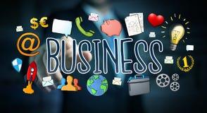 Бизнесмен используя нарисованное вручную представление дела Стоковые Изображения