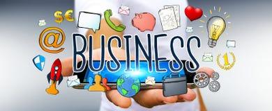 Бизнесмен используя нарисованное вручную представление дела Стоковое Фото