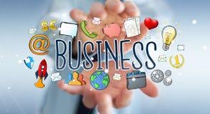 Бизнесмен используя нарисованное вручную представление дела Стоковые Фото