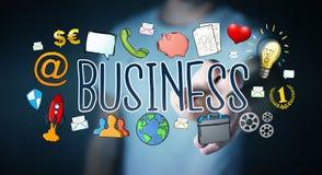 Бизнесмен используя нарисованное вручную представление дела Стоковые Изображения RF