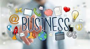 Бизнесмен используя нарисованное вручную представление дела Стоковая Фотография