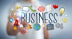 Бизнесмен используя нарисованное вручную представление дела Стоковое Изображение RF