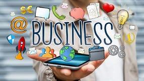 Бизнесмен используя нарисованное вручную представление дела Стоковая Фотография RF