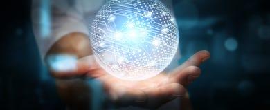 Бизнесмен используя сеть передачи данных с его пальцами Стоковое Фото