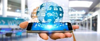 Бизнесмен используя цифровой мир с значками сети Стоковая Фотография