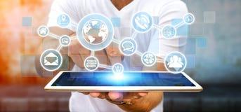 Бизнесмен используя цифровую сеть сети с значками сети иллюстрация штока