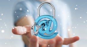 Бизнесмен используя 3D представил цифровой padlock для того чтобы обеспечить его inte Стоковая Фотография RF