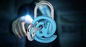 Бизнесмен используя 3D представил цифровой padlock для того чтобы обеспечить его inte Стоковое Изображение