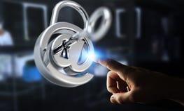 Бизнесмен используя 3D представил цифровой padlock для того чтобы обеспечить его inte Стоковые Фотографии RF