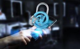 Бизнесмен используя 3D представил цифровой padlock для того чтобы обеспечить его inte Стоковые Изображения