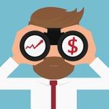Бизнесмен ища диаграмма и деньги роста рука принципиальной схемы коммерсантки 3d указывая слово зрения Стоковое Фото
