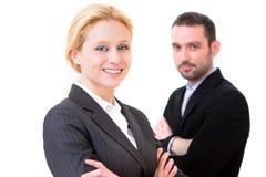 Бизнесмен и бизнес-леди на белой предпосылке Стоковые Изображения