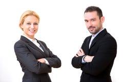 Бизнесмен и бизнес-леди на белой предпосылке Стоковые Фотографии RF