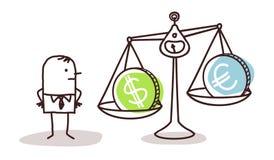 Бизнесмен и валюты в балансе бесплатная иллюстрация
