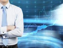 Бизнесмен и график состояния запасов Стоковые Фото