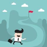 Бизнесмен идет к достижению успеха цели Бесплатная Иллюстрация