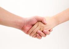 Бизнесмен и женщина тряся руки, изолированные на белизне Стоковое Фото