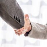 Бизнесмен и женщина тряся руки Стоковая Фотография