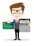 Бизнесмен или бухгалтер с калькулятором Стоковая Фотография RF
