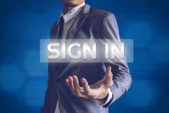 Бизнесмен или Salaryman с подписывают внутри интерфейс текста современный conc Стоковая Фотография RF