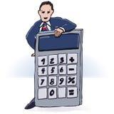 Бизнесмен и карманный калькулятор Стоковая Фотография RF