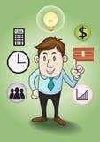 Бизнесмен и концепции к финансовому успеху. бесплатная иллюстрация