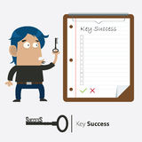Бизнесмен и ключ успеха Стоковое Изображение RF