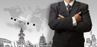 Бизнесмен и мечт перемещение вокруг мира Стоковое Изображение