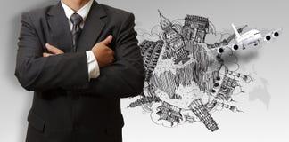 Бизнесмен и мечт перемещение вокруг мира Стоковое Изображение RF
