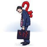 Бизнесмен и много вопросов иллюстрация штока
