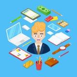 Бизнесмен и офис неподвижные бесплатная иллюстрация
