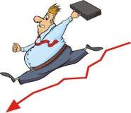 Бизнесмен и склонение в фондовой бирже иллюстрация штока