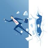 Бизнесмен и стена иллюстрация штока