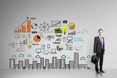 Бизнесмен и стратегия бизнеса Стоковое Изображение