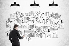 Бизнесмен и черный startup эскиз Стоковые Изображения RF