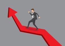 Бизнесмен идя вверх диаграмма стрелки Стоковые Изображения